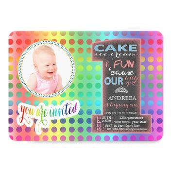 Chalkboard Number One Photo GIRL 1st Birthday Card