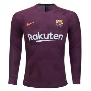 KUYOU Barcelona 2017/18 Third Away Men Long Sleeve Soccer Jersey Personalized Name and Number
