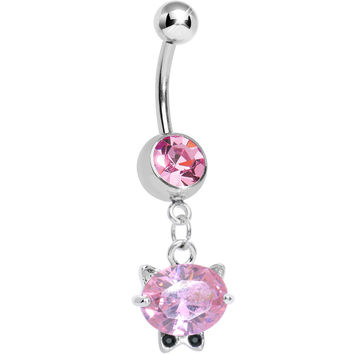 Pink Gem Black Tie Affair Swanky Crystal Cat Head Dangle Belly Ring