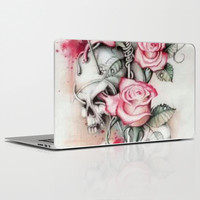 Roses Skull Laptop & iPad Skin by Ilola