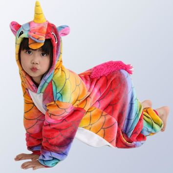 winter clothes children's pajamas baby Onesuit kids pajama set animal cartoon sleepwear unicorn hooded cosplay for 4 6 8 10 12 Y