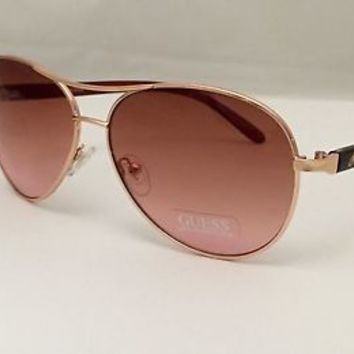 "Guess Sunglasses 100% UV  Rose Gold Avaitor, GUF 235 GLD-34A  'Free Case'  ""NEW"""