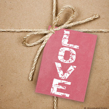 9 LOVE Gift Tags, Valentine's Day 2.5 x 3.5 Hang Tag, Pink and White Product Tag With Jute Twine, Hugs and Kisses Gift Tags