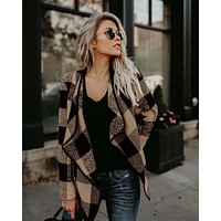 Women Casual Plaid Long-Sleeved Jacket