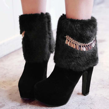 AirfourNew Hot sale arrival fur snow boots Metal chain High-heel platform ladies winter ankle boots women shoes motorcycle boots