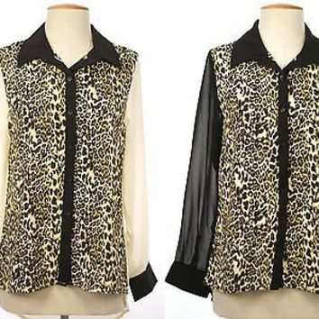 Leopard Print Button top Chiffon Blouse long sleeve asym hem top shirt