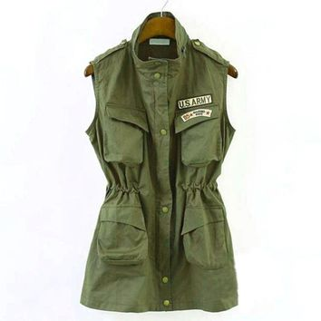 Army Green Military Multi-pocket Parka Long Drawstring Elastic Vest Jacket For Women