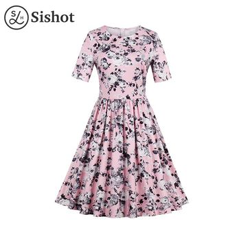 Summer Pink Floral Printed A Line O Neck Knee Length Short Sleeve Round Neck Pint Retro Dress