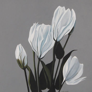 Lisianthus Flower Painting - White Gray Large Botanical Acrylic Wall Art