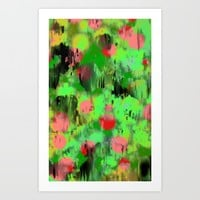 Red dots on green Art Print by LoRo  Art & Pictures