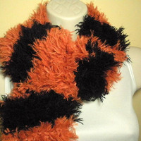 Halloween Orange and Black Fuzzy Furry Scarf