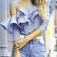Blue Stripe Off-Shoulder Ruffle Detail Long Sleeve Blouse