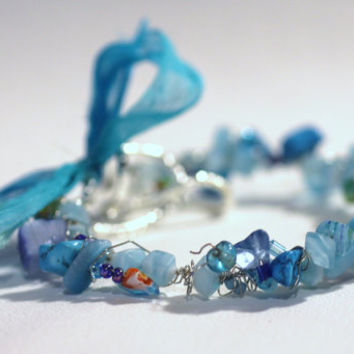 Aqua Blue Summer Sea Bracelet, Stone Chips, Shell Beads, Wire Wrap, arm candy, bangle, stack bracelet