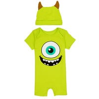 Disney Boys' 2 Piece Green Monsters Inc Mike Wazowski Lap Shoulder Romper and Hat Layette Set