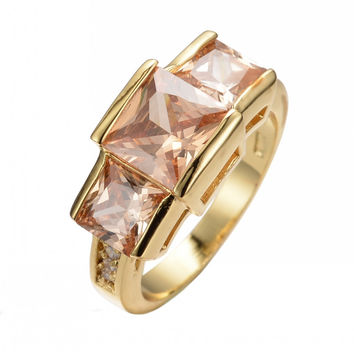 Champagne Topaz Square Vintage Ring 14KT Yellow Gold Filled Jewelry Fashion Wedding/Engagement Rings For Men And Women RY0156