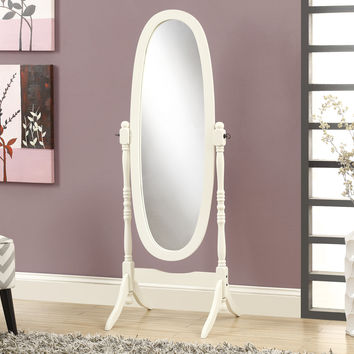 """Mirror - 59""""H - Antique White Oval Wood Frame"""
