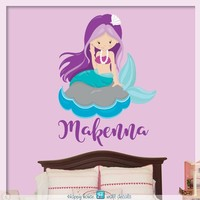 Mermaid wall decal, Mermaid wall decor, Mermaid sticker, Nursery wall decal,Personalized Girls name decor