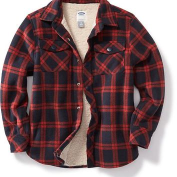 Old Navy Boys Flannel Sherpa Lined Jacket