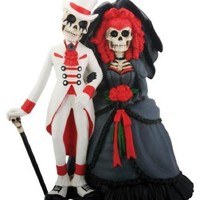 Gothic Skeleton Bride and Groom Wedding Cake Topper Day of the Dead Couple 5.25H