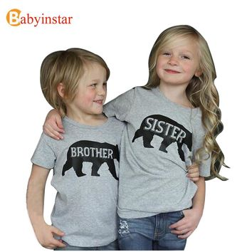 Family Matching Outfits Brother Sister Clothes Casual Family t shirt Summer Short Sleeve Boys Girls Top Tees 2016 Family Look