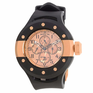 INVICTA 17393 MEN'S S1 RALLY ROSE GOLD DIAL BLACK SILICONE BAND STAINLESS STEEL CASE CHRONOGRAPH WATCH
