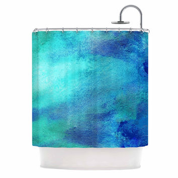 "Ashley Rice ""AC3"" Teal Watercolor Shower Curtain"