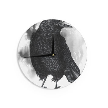 """Sophy Tuttle """"Crow"""" Black White Wall Clock"""
