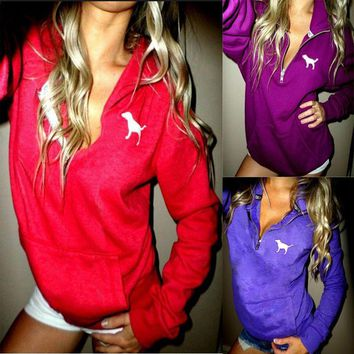 victoria s secret pink women s fashion letter print hooded long sleeves pullover tops sweater-3