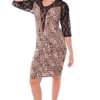 Plus Size Sexy Club wear Black Leopard Print Ruched Lace Shoulder Sleeve Sexy Dress