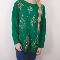 Vintage Beaded Tree Ugly Christmas Sweater