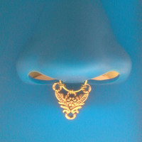Septum Nose Ring Gold Ornate Faux  Clip on -piercing imitation-Tribal  Nose Cuff - For Him/ For Her