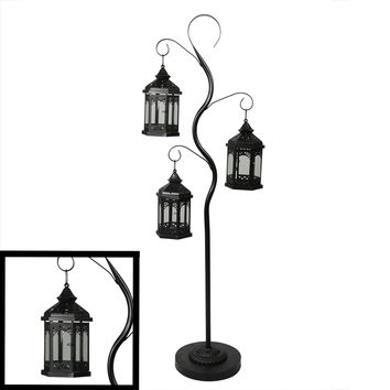 "51"" Rustic Black Pillar Candle Holder Tree with 3 Decorative Lanterns"