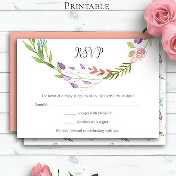 Boho Wedding RSVP Card, Customized Wedding Insert Cards, Personalized Response Card, Wedding RSVP Insert, Rustic Watercolor Flowers