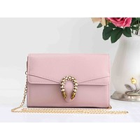 Gucci Fashion Women Sweet Leather Metal Chain Buckle Crossbody Satchel Shoulder Bag Pink I-XS-PJ-BB