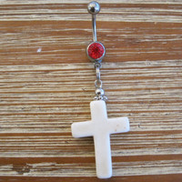 Belly Button Ring - Body Jewelry - White Cross with Red Gem Belly Button Ring