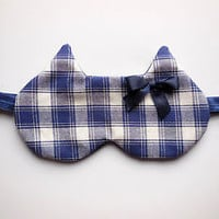 Cat Eyemask Sleep Eye Mask Plaid Check Blue Cotton Night Blindfold Cover Travel