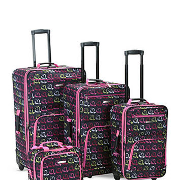 Rockland 4 Piece Printed Luggage Set - Heart