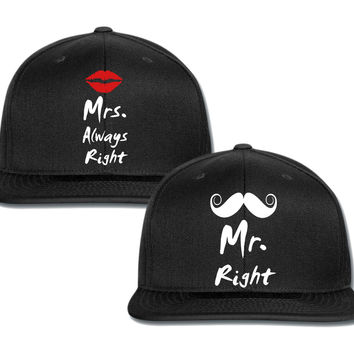 mr. right mrs. always right couple matching snapback cap