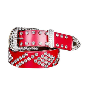 Feitong Brand ATLAS WESTERN COWGIRL BLING COWGIRL LEATHER BELT CLEAR RHINESTONE CRYSTAL NEW