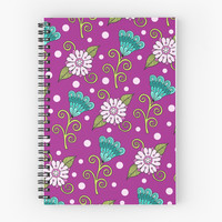 'Floral Dot Motif ' Spiral Notebook by Sarah Oelerich