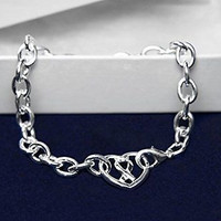 Chunky Silver Ribbon Heart Bracelet for Heart DIsease Awareness with a Gift Box