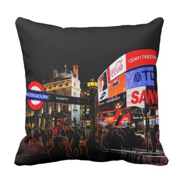 Fantasy Glowing Piccadilly In London At Night Throw Pillow