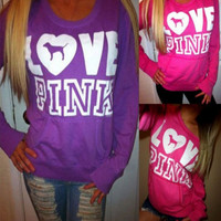 """Pink"" Victoria's Secret Loose Long Sleeve Letter Print Top Sweater"