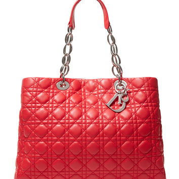 Red Cannage Quilted Soft Lambskin Medium Lady Dior