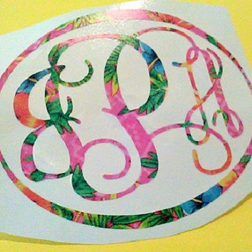 Monogram Decal-Preppy Monogram-Cup Decal-Pattern Vinyl-Car Window Decal-Laptop Decal