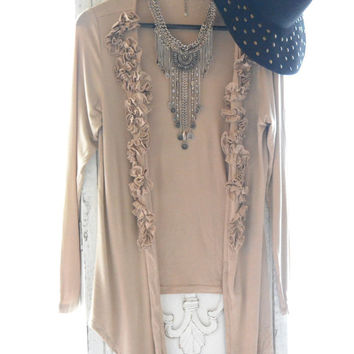 tea stain Romantic shabby Kimono, Upcycled Anthropologie cardigan, Coachella Bohemian clothing, French Parisian country, true rebel clothing