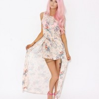 LOVE Peach Floral Maxi Dress With Underlay Shorts