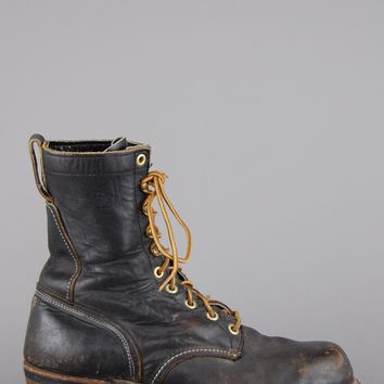 Work It Out Lace Up Leather Logger Boots