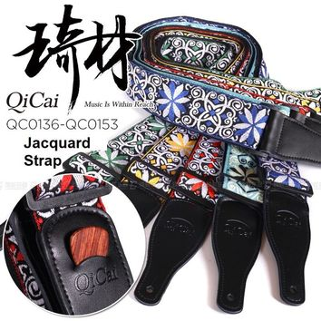 QiCai Jacquard Handcrafted Embroidered Leather End Guitar Strap with Built-in Pick holder at Strap End - 19 Styles