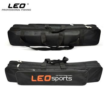 LEO Double Layer Oxford Cloth Fishing Bag 70cm Waterproof Fishing Rod Bag with Side Zipper Bag for Fishing Accessories